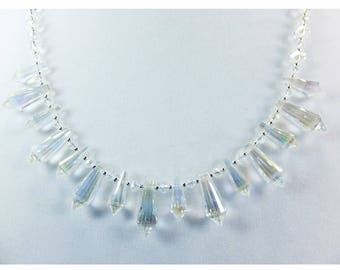 Clear Cut Cystal Beaded Necklace with Tiny Silver Plated Beads and Security Clasp