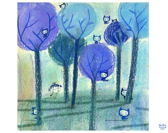 Displays blue wolves in the blue forest A118
