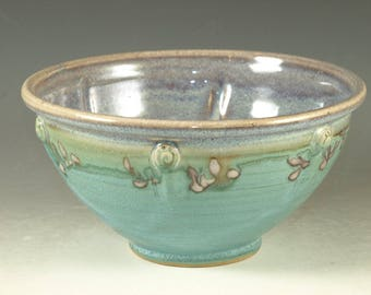 Handmade serving bowl Stoneware pottery bowl cerial bowl turquoise glaze
