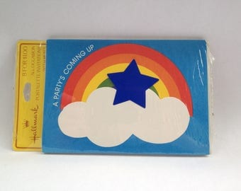 Rainbow and star party Invitations, set of TWO packages, 16 cards total