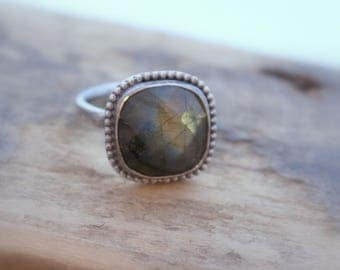 Sterling Silver Labradorite Ring - Artisan jewelry gift for her