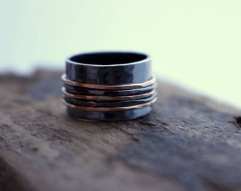 Rose Gold Sterling Silver Spinner Ring - Fiddle Ring - Wide Band Rustic Ring