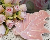Vintage Pink Leaf Designer Dish, Marbleized Coloring, 1950's, Home Decor, Shabby Chic, Art Deco, Collectible, Display, Made In USA, ECS
