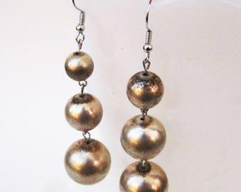 Drumroll Earrings - vintage metal beaded earrings