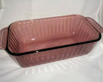 Cranberry Loaf Pan 1.5 quart Glass Loaf Pan for Baking Bread or Meat Loaf - like Corning Ware Cranberry Visions- Rare - Vintage
