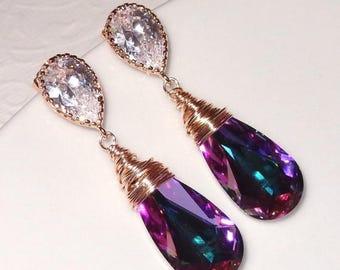 ON SALE 20% OFF Rose Gold Swarovski Crystallized Teardrop Earrings, Vitrail Light Crystal Bridesmaid  Bridal Jewelry Peacock Purple Blue