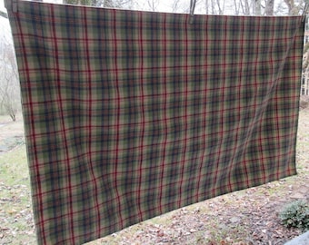 Vintage Woven Plaid Cotton Tablecloth - Tan Burgundy Navy Sage - Country/ Farmhouse Style
