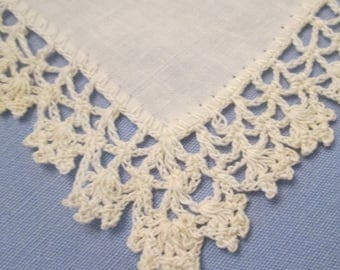Something Old -  Vintage Wedding Hanky/ Handkerchief - Creamy White Linen With Hand Crocheted Edging - 1947