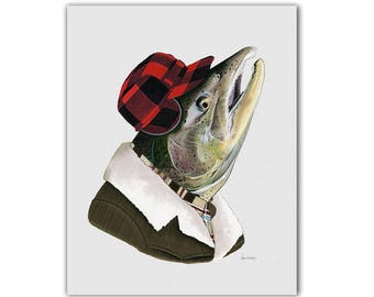 Salmon art print - Animal Art - Ryan Berkley Illustration - Dapper Animals - Animals in Clothes - Nursery Art - Man Cave - 8x10