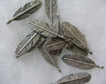 Silver Plated Leaf  24 Feathers per lot Feather Leaf Leaves 30mm