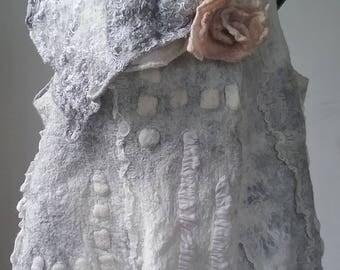 Nuno Felt Wrap Vest - Reversible - Off White and Grey