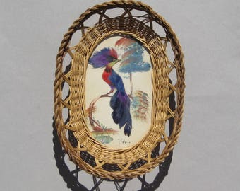 Vintage Mexican Basket Exotic Feather Bird Picture Under Glass Bird Feather Basket Mexico Boho Decor Wall Basket