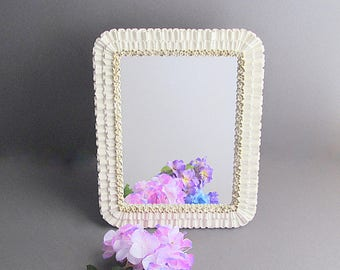 Vintage Shabby Cottage Chic Mirror, Free Standing Mirror, Bathroom Bedroom Mirror, Shabby French Mirror, Nursery Decor