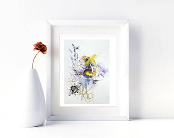 Bumble Bee Print. Bee Art. Honey Bee Wall Art. Watercolour Print. Apiarist Bee Keeper Gift Idea