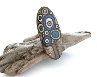 Wood Tree Oval Ring, Brown, Blue, Green, Adjustable Geometric Ring, Statement Rings, Casual Everyday Jewelry, Wood Burned, Tree of Life