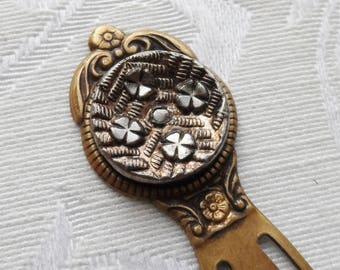 Bookmark, Antique Button, Cross Pattee Design, Antique Brass