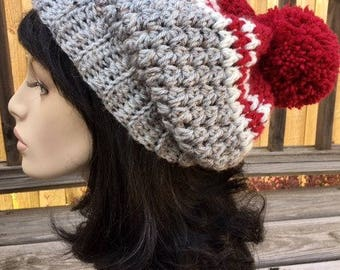 Sale Slouchy Popom Crochet Hat Womens Hat Crochet Accessories Hat Womens Slouchy Tam Beret Crochet Hat
