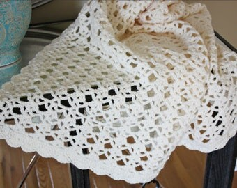 Lacy Crochet Afghan / Throw Blanket