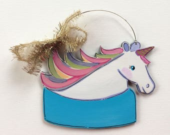 Unicorn ornament - unicorn lover gift - unicorn hair - rainbow hair - personalized ornament - Christmas ornament - gold - colorful - painted
