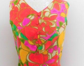 Vintage 60's Hawaiian Maxi Dress