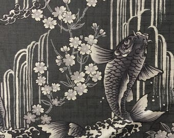 Carp, Waterfall, and Cherry Blossoms Japanese cotton dobby fabric Koi Sakura GRAY IGA-14240-2D