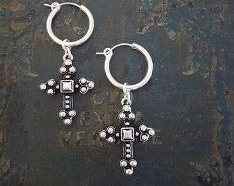 Sterling Silver Cross Earrings, Oxidized Cross, Sterling Silver Small Hoop Earrings, Dangle Cross Hoop, Small Silver Hoop, Rock and Roll
