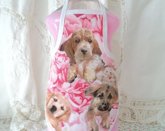 Pink Roses & Puppies Bottle Apron - fits 25 oz.