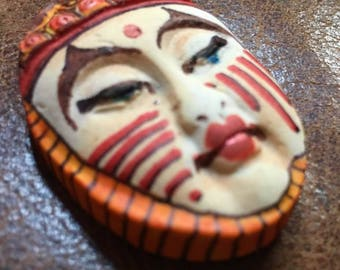 clay face jewelry craft supplies jester spirit dolls handmade cabochon oval  polymer clay doll parts head mask tribal