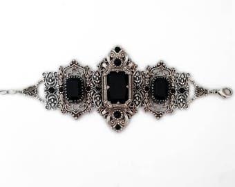 Large Gothic Bracelet Silver Statement Bracelet Medieval Gothic Black Swarovski Crystals Gothic Bridal Jewelry Victorian Gothic Jewelry