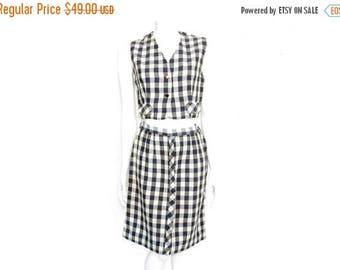 Summer Sale Vintage Louisa Alcott Skirt and Vest// Woven Plaid Skirt Set// Blue Plaid Cotton Vest and Skirt Set// Size XS// 208
