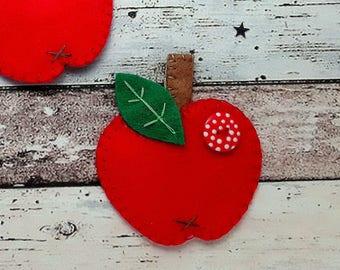 Hair Clips Red Felt apple hair clip, hair tie/hair bobble or Brooch pin handmade felt apple hair barrette