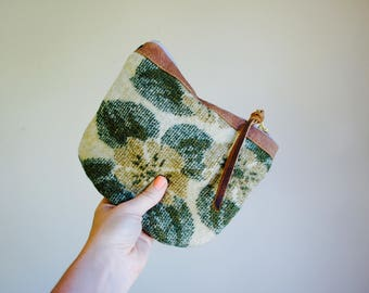 NEW///Vintage Floral Wool and Leather Pouch//Reversible