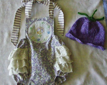 Hand embroidered Baby Ruffle Romper Violets, Pansy and Daisies Vintage embroidery NB to 18M sizes  READY to SHIP in 6-12M
