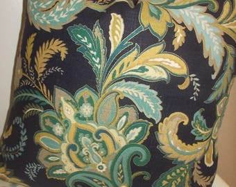 Jacobean Pillow cover Navy blue teal turquoise off white and gold