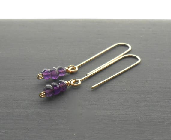 Gold Fill Amethyst Earrings, Minimalist Gemstone Dangle Earrings