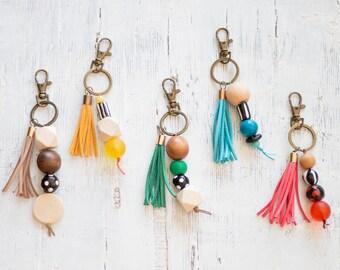 Beaded keychain, Tassel key-chain, Chunky Beads, Hand-made Beads, Bag Charm