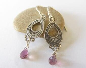 Earrings Boho Pink, Tourmaline Earrings, October Birthstone, Pink Earrings Her, Pink Everyday Earrings, Earrings Stone Pink, Pink Tourmaline