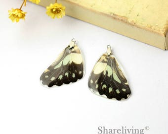 4pcs Handmade Real Butterfly Wing Charm / Pendant, Cover Resin with Silver Bail, Perfect for Earring / Necklace - RW003D
