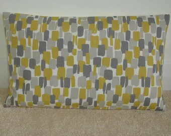 "12x20 Pillow Cover Saffron Yellow Ochre and Grey Oblong Bolster 20""x12"" Cushion Case Sham Slip Pillowcase Mustard Retro Modern"