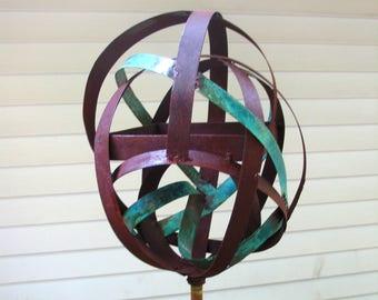 Sculptural Steel & Copper Bird Feeder No. 351 - Freestanding unique modern bird feeder garden globe
