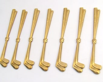 Brass double golf club stampings, vintage long 50mm, 7 pcs