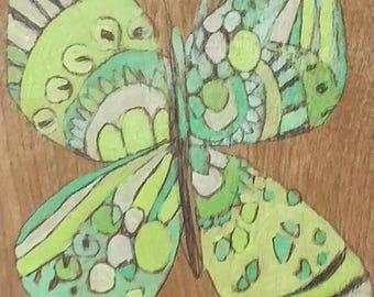ORIGINAL Butterfly painting on wood by Jennifer Mercede