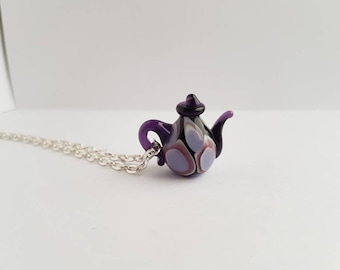 Purple Miniature Teapot Necklace, Tea Pot Pendant,Glass Tea Kettle,Teapot Necklace Charm,Miniature food Necklaces,Gift Under 50,Gift for her