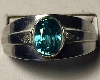 Blue Zircon silver ring size 7.5
