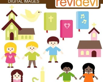 35% OFF SALE Sunday School Kids - Cute clipart - Digital graphic images