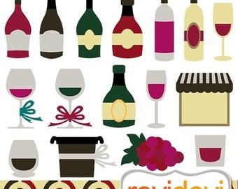 35% OFF SALE Wine tasting clip art - Wine Bottles Clipart.. instant download