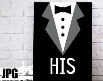 His tuxedo black and white printable wall art poster, gift for him / simple monochromatic modern design digital download / 5x7, 8x10, 11x14