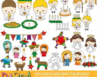 Christmas Holidays Around The World clipart sale bundle - St. Lucia's day, Las Posadas clip art download commercial use