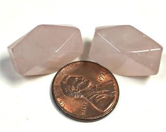 Vintage ROSE QUARTZ Beads Faceted Rectangle Barrel 20mm pkg2 cb53