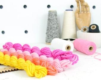 juicy fruit  ... handspun yarn set, weaving creative yarn bundle, hand spun, hand dyed yarn, handspun art yarn